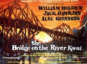 Cartel americano de la película El puente sobre el Río Kwai.