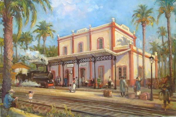 Imagen de la obra Antigua estación del ferrocarril Murcia-Alicante en Elche, de Eduardo Samper.