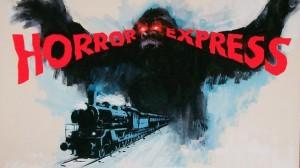 """Uno de los carteles de Pánico en el transiberiano bajo su denominación original """"Horror Express""""."""