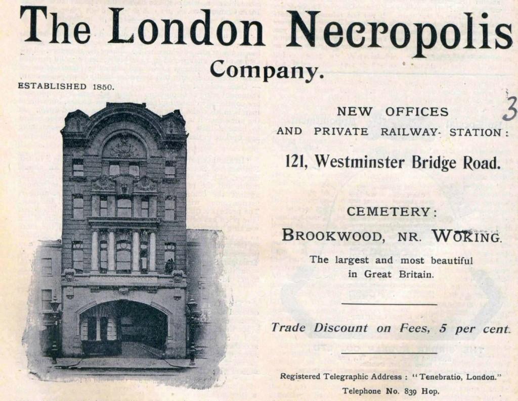 Anuncio de la London Necropolis Company, con cementerio y tren privado con destino al más allá. Foto: Funeral Director Monthly.