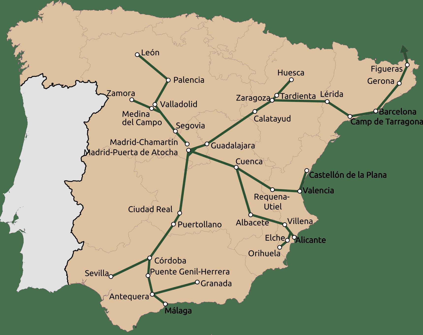 Red de trenes Renfe AVE