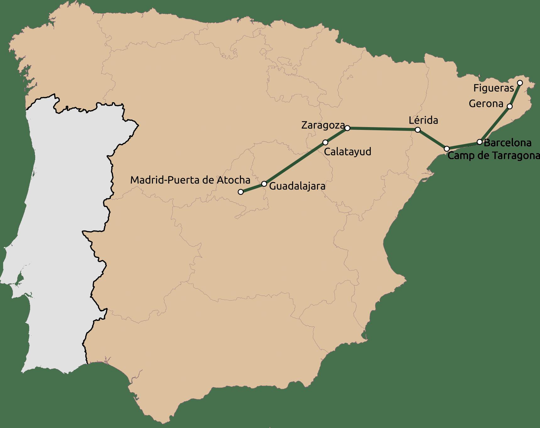 Mapa de la red Avlo